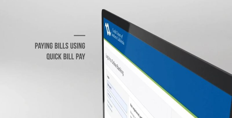 Learn how to quick bill pay on CU SoCal's new Online Banking.